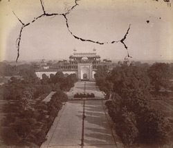 General view of Akbar's Tomb from the top of the entrance gateway, Sikandra, Agra.